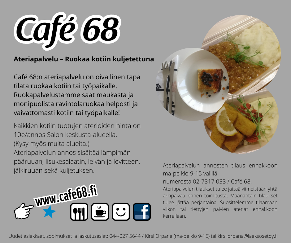 Café 68 Ateriapalvelu – Ruokapalvelu kotiin tai työpaikalle